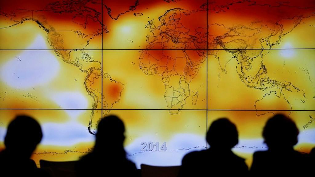 Bản đồ các hiện tượng khí hậu bất thường, tại Thượng đỉnh Khí hậu (COP21), Le Bourget,ngoại ô Paris, 08/12/2015.